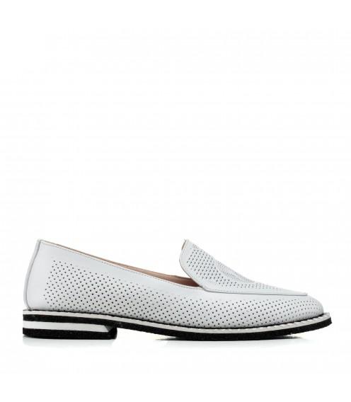 Туфлі жіночі шкіряні білі з перфорацією Phany
