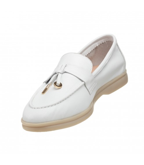 Туфлі-лофери жіночі шкіряні білі Evromoda