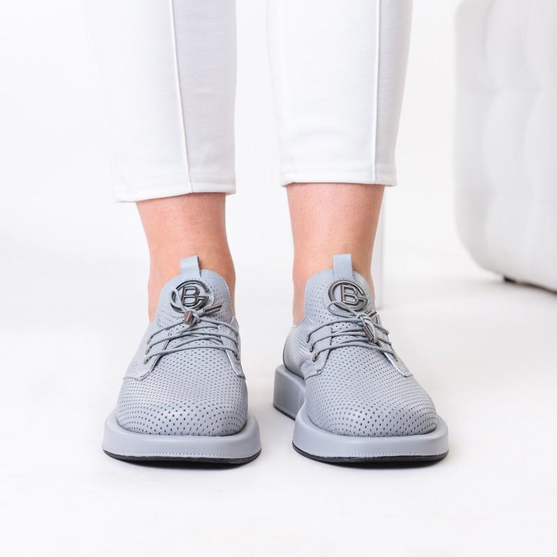 Туфлі жіночі шкіряні сірі на шнурівці Evromoda