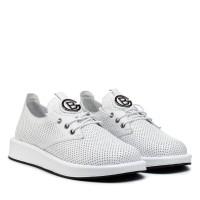 Туфли женские кожаные белые на шнуровке Evromoda