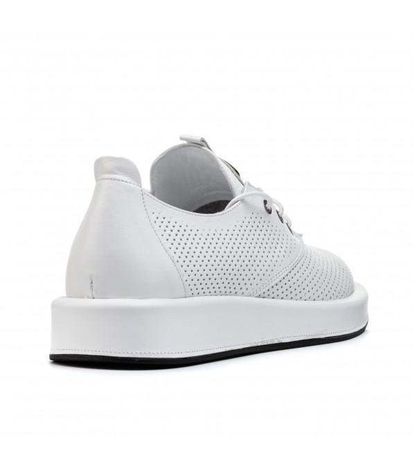 Туфлі жіночі шкіряні білі на шнурівці Evromoda