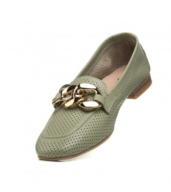 Туфлі лофери жіночі шкіряні оливкові Aquamarin