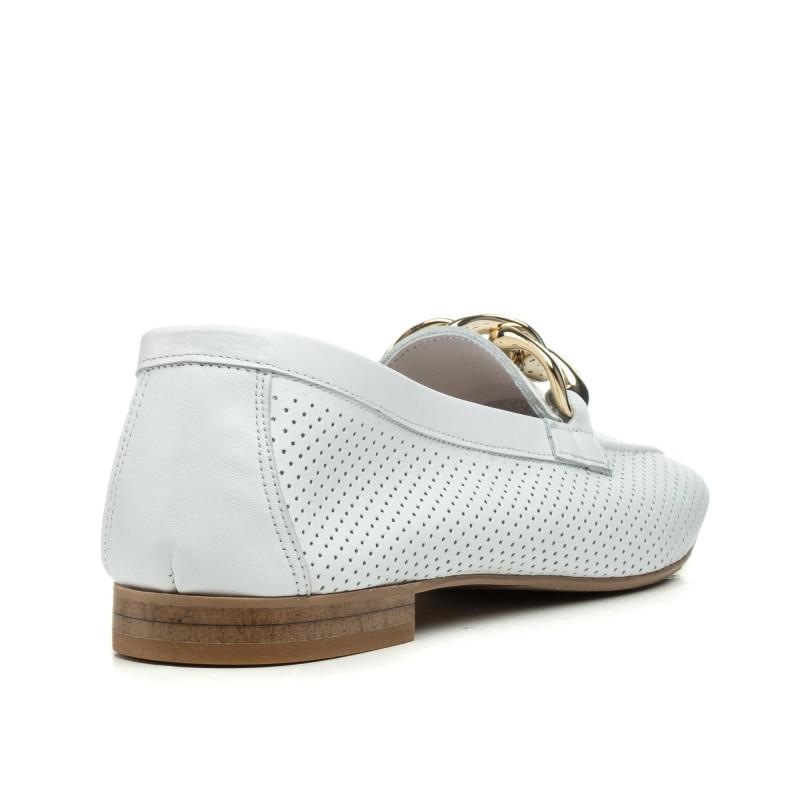 Туфлі лофери жіночі білі шкіряні Aquamarin
