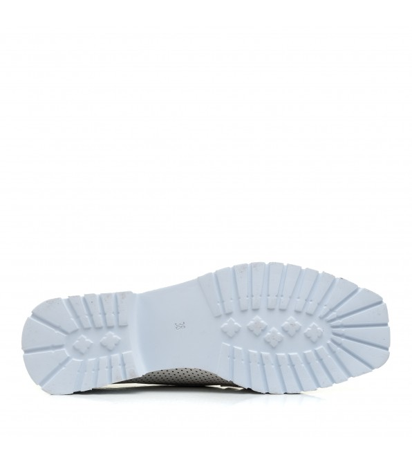 Туфлі лофери жіночі шкіряні білі Aquamarin