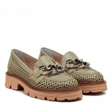 Туфли кожаные с перфорацией зеленые Evrromoda