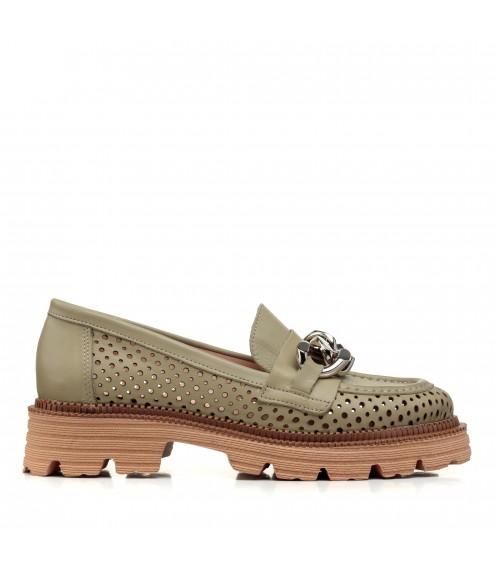 Туфлі шкіряні з перфорацією зелені Evrromoda