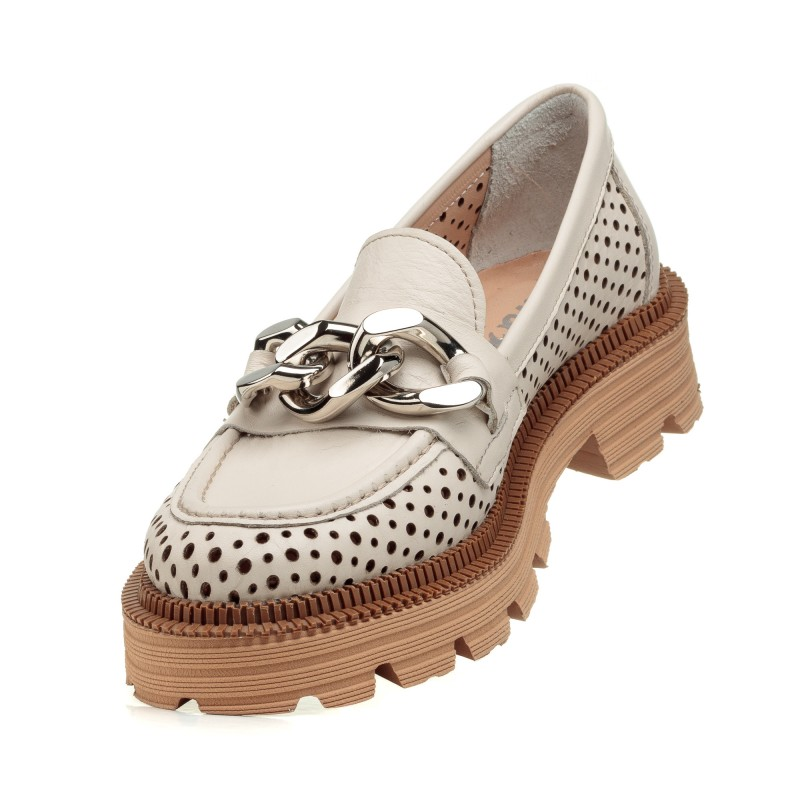 Туфлі шкіряні з перфорацією бежеві  Evrromoda
