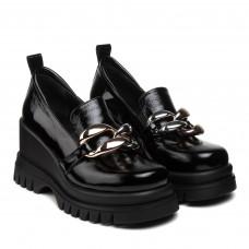Туфли женские кожаные черные на танкетке Guero