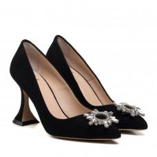 Туфли женские черные на стильному каблуке Aquamarin