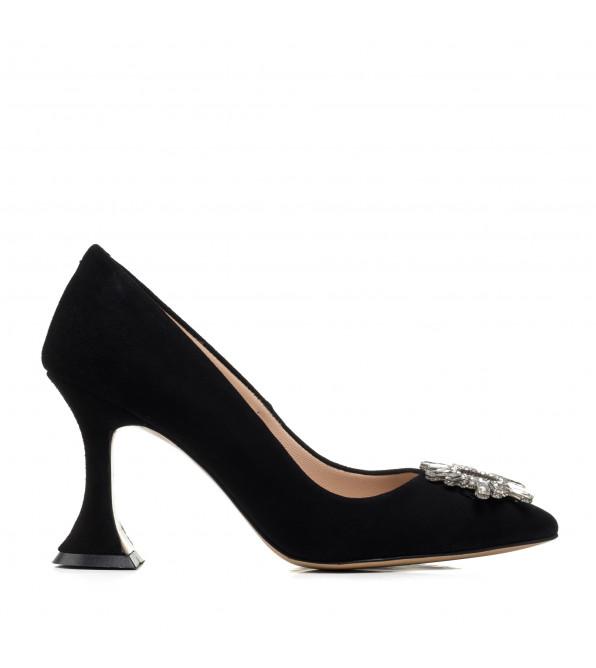 Туфлі жіночі чорні на стильному каблуці Aquamarin