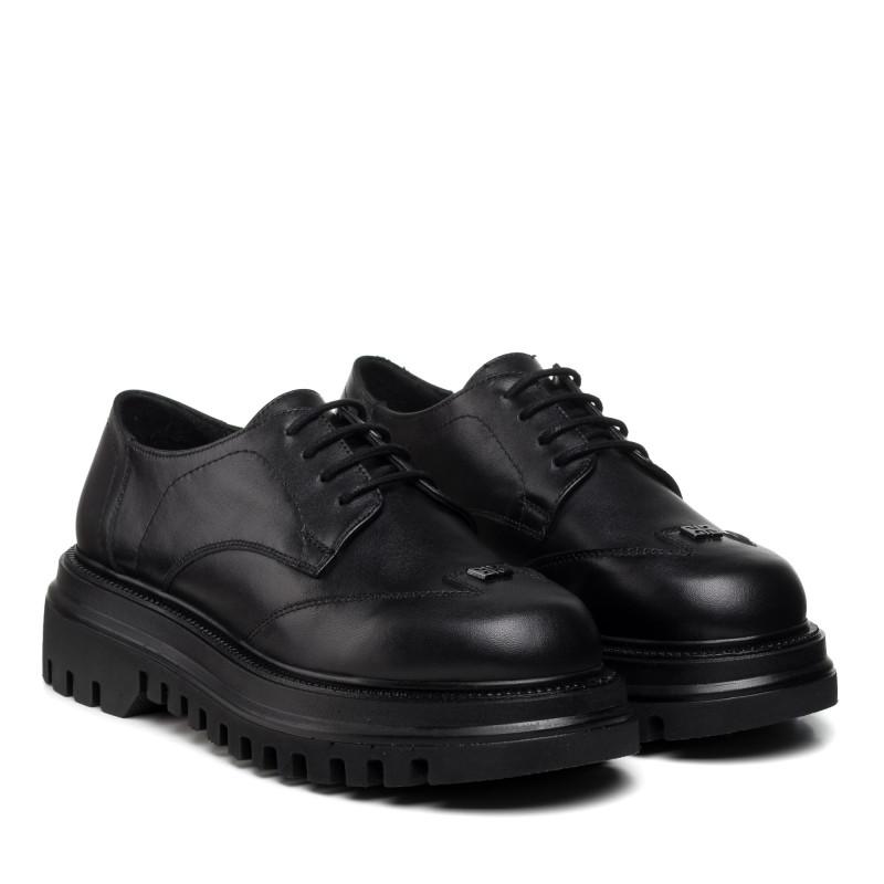 Туфлі жіночі шкіряні чорні на шнурівці Aquamarin