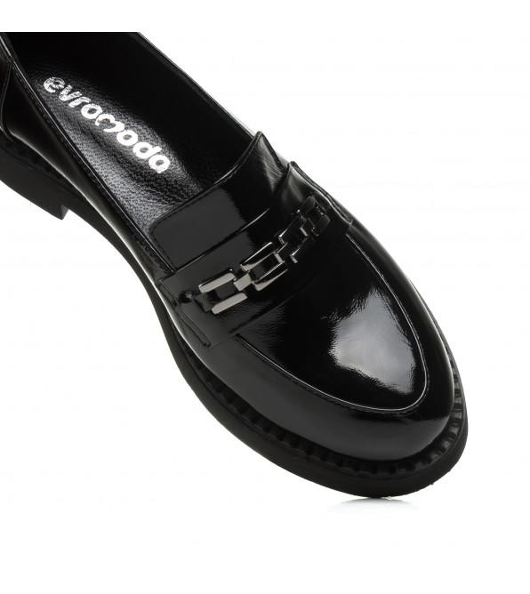 Лофери Evromoda лаковані чорні зручні з пряжкою