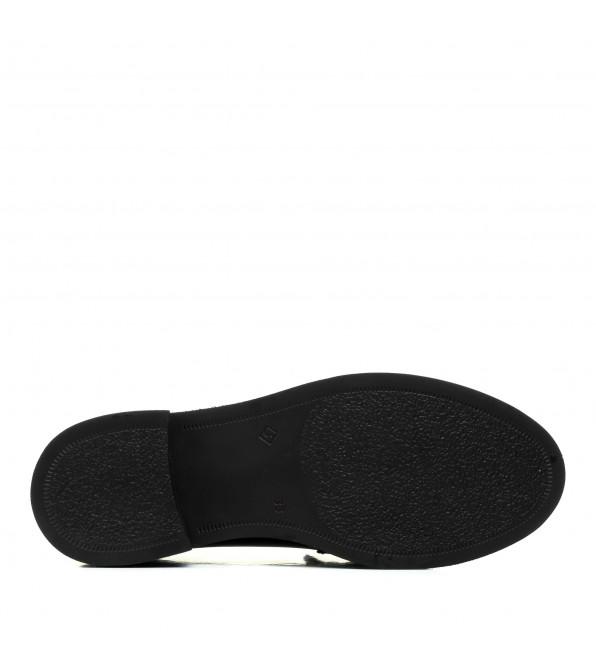 Лофери Evromoda шкіряні чорні зручні з пряжкою