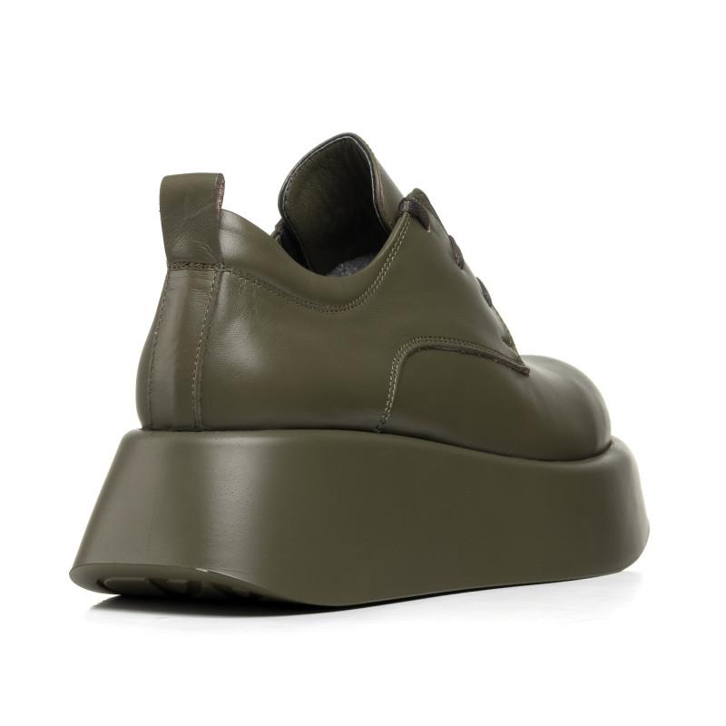 Туфлі жіночі шкіряні зелені на платформі Molly Bessa