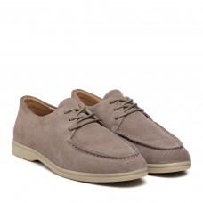 Туфли женские замшевые серые на шнуровке Lonza