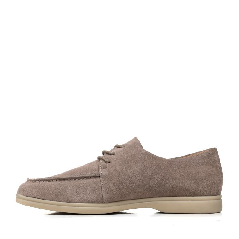 Туфлі жіночі замшеві сірі на шнурівці Lonza