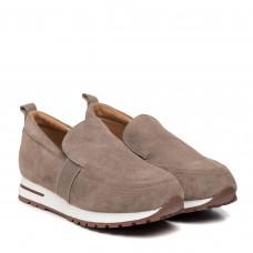 Туфли женские замшевые серо-бежевые Lonza
