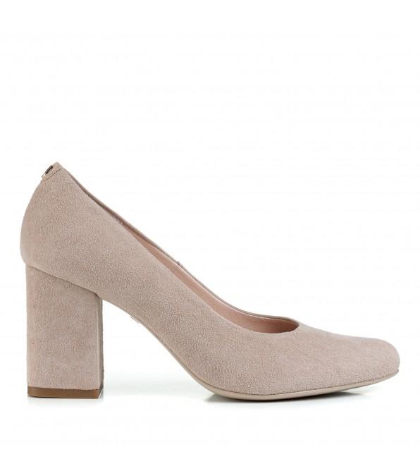 Туфлі жіночі замшеві бежеві на стійкому каблуку Sala