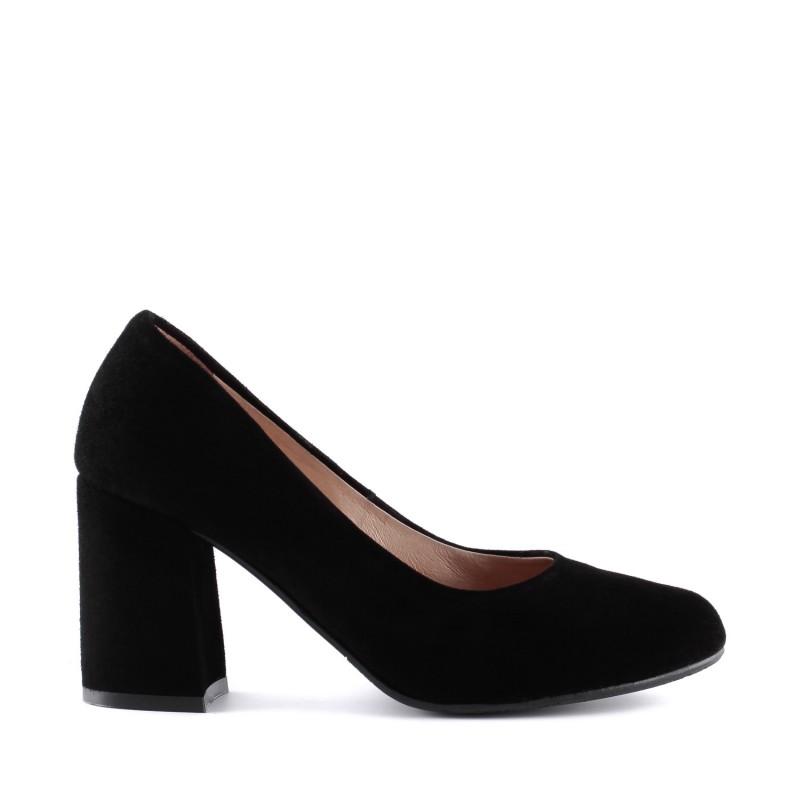 Туфлі-човники жіночі замшеві класичні на каблуці Aga