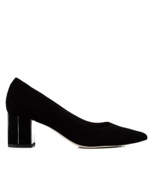 Туфлі-човники жіночі замшеві на каблуці Bravo Moda