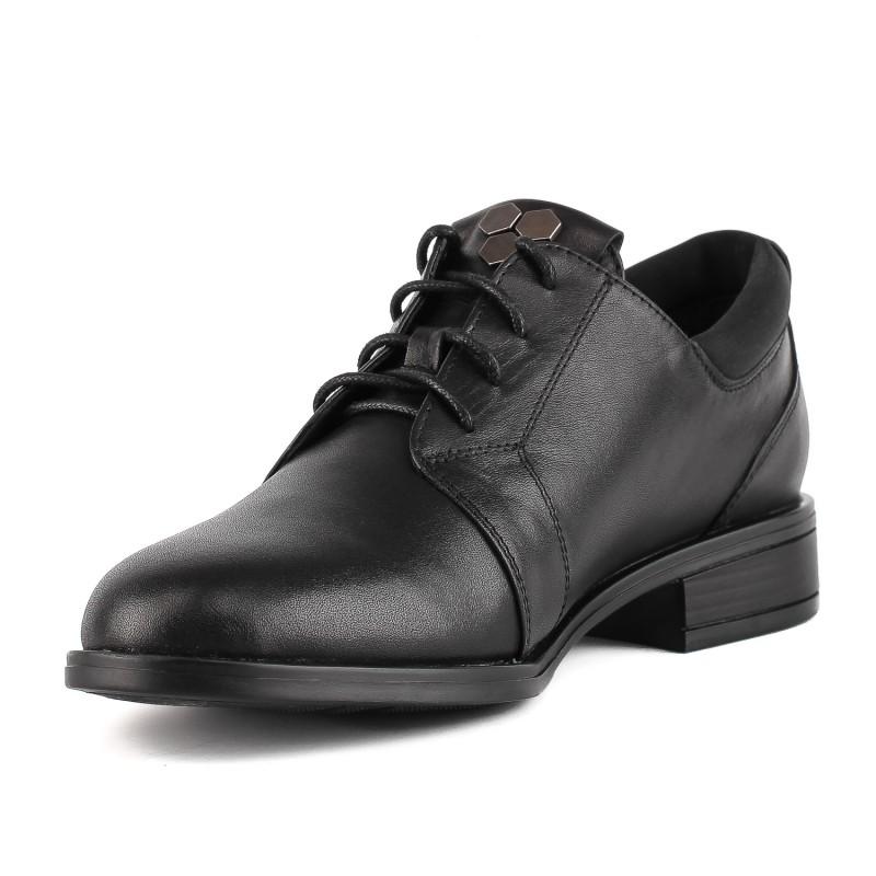 Туфлі жіночі шкіряні чорні  на низькому ходу Monroe