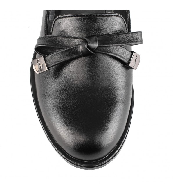 Туфлі жіночі шкіряні чорні на низькому ходу Monroе