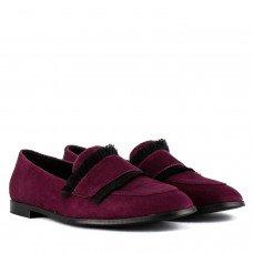 Туфлі жіночі замшеві сливові на низькому ходу Marco Rossi