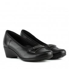 Туфлі жіночі шкіряні чорні на танкетці Kostex