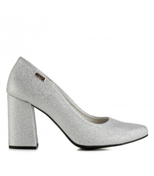 Туфлі жіночі срібні на високому каблуку Zanzara