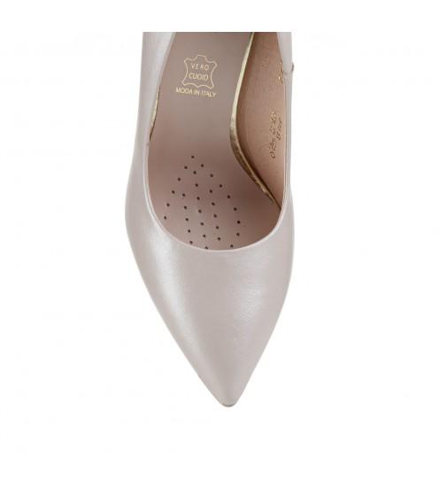 Туфлі жіночі шкіряні пудрові  на шпильці Sala