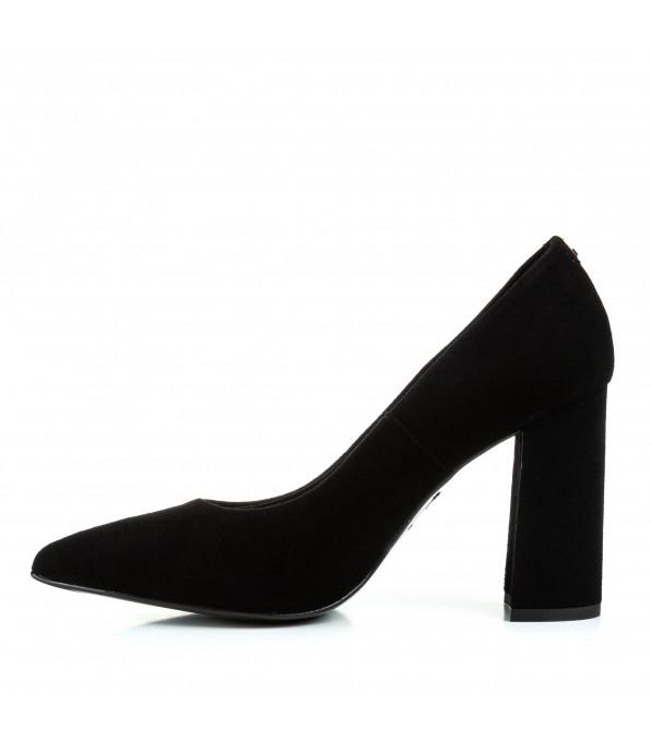 Туфлі-човники жіночі замшеві чорні на високому каблуку Sala