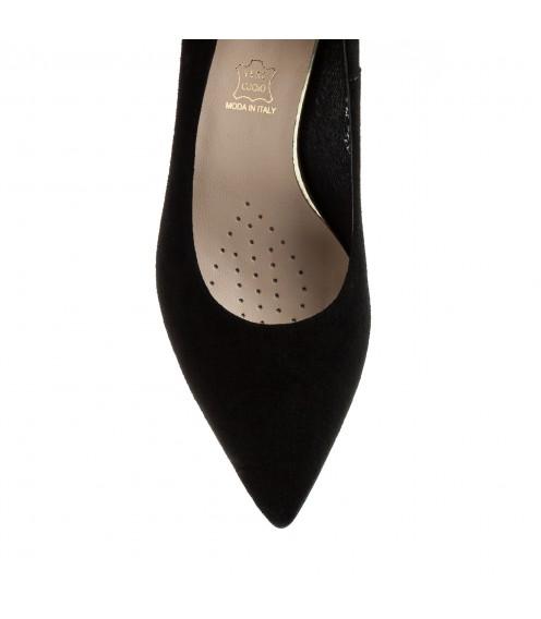 Туфлі жіночі замшеві чорні на товстому каблуку