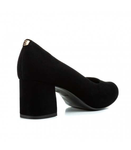 Туфлі жіночі замшеві чорні  на каблуку  Sala