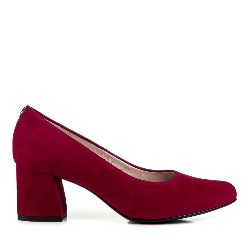 Туфлі жіночі замшеві малинові на  зручному каблуці Sala