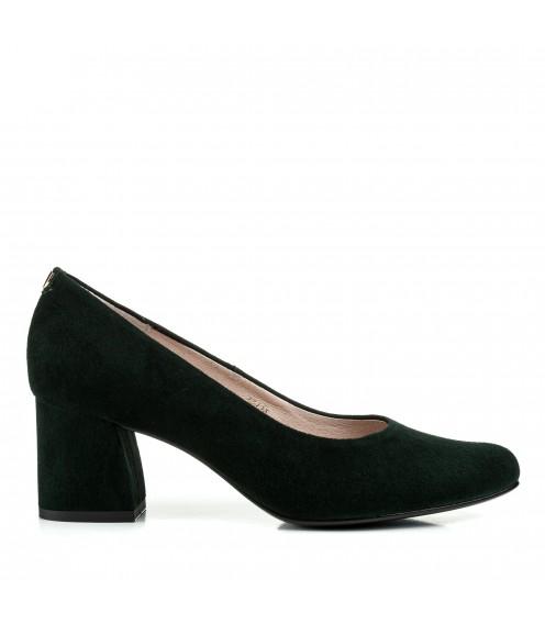Туфлі жіночі замшеві зелені на товстому каблуці Sala
