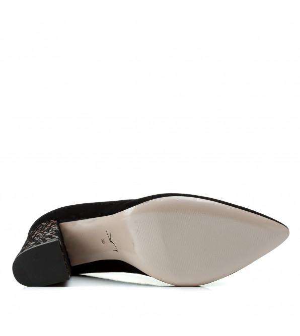 Туфлі жіночі замшеві чорні на високому каблуці Visconi
