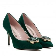 Туфли женские замшевые зеленые на шпильке Bravo Moda