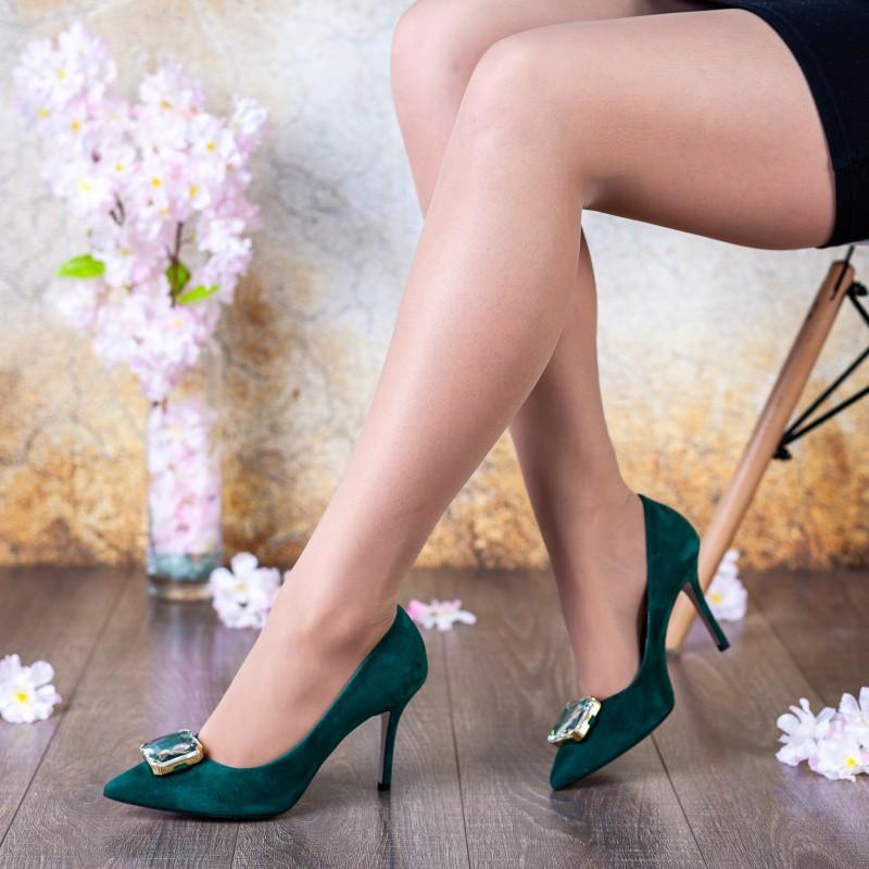 Туфлі жіночі замшеві зелені на шпильці Bravo Moda