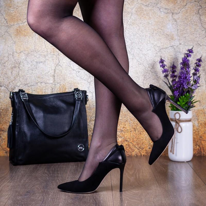 Туфлі жіночі шкіряні чорні на шпильці Bravo Moda