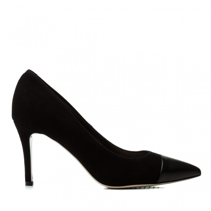 Туфлі жіночі замшеві чорні на шпильці Bravo Moda
