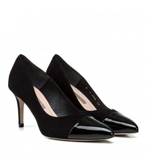 Туфлі-човники жіночі замшеві на середньому каблуці Bravo Moda