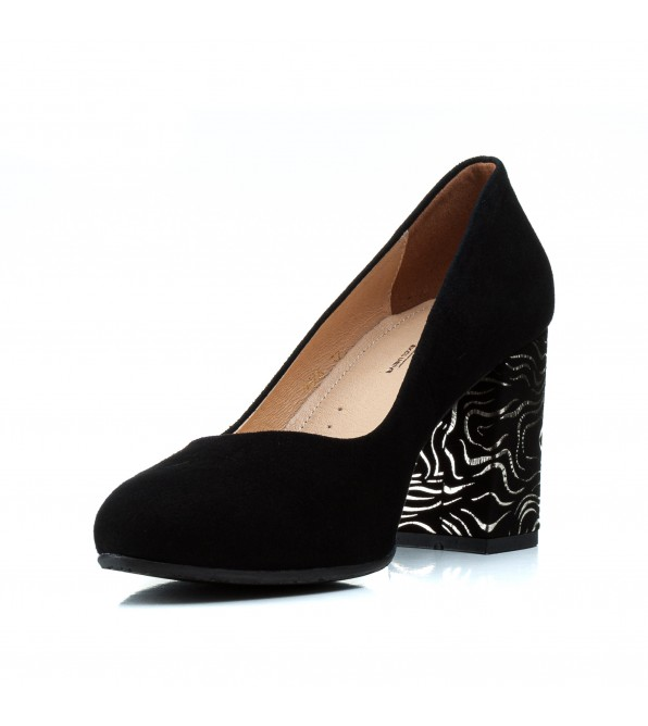Туфлі жіночі замшеві чорні на стійкому каблуку Aga