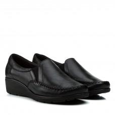 Туфли женские кожаные черные на танкетке Pimo