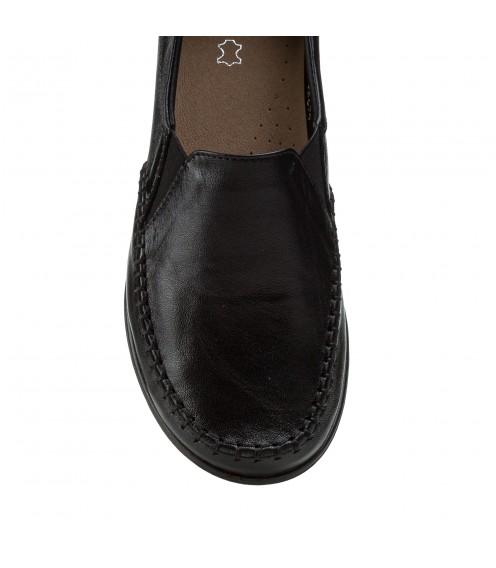 Туфлі жіночі шкіряні чорні на танкетці Pimo
