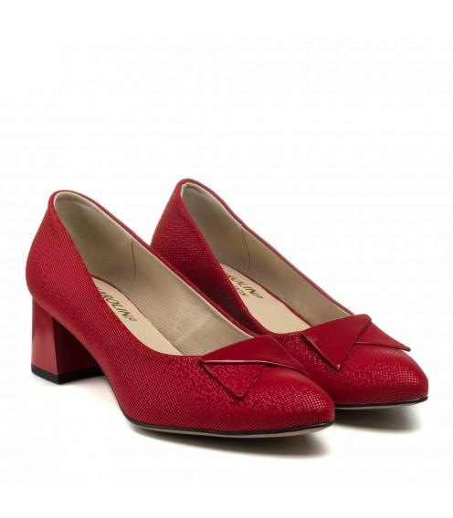 Туфлі жіночі червоні на каблуці Karolina