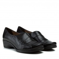 Туфли женские кожаные черные удобные на низком ходу Goral