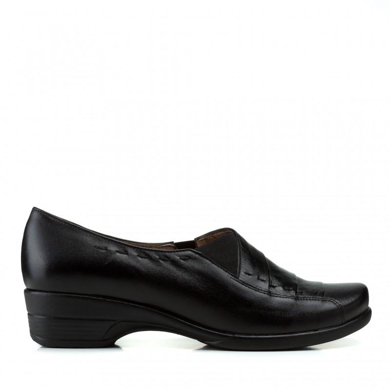Туфлі жіночі шкіряні чорні зручні на низькому ходу Goral