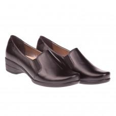 Туфли женские кожаные черные на удобной танкетке Goral