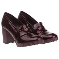 Туфли женские  лаковые бордовые на устойчивом каблуке