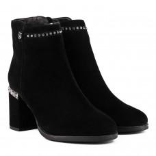 Ботильйони жіночі замшеві чорні на каблуку Bonetti Co